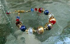 Murano Hand Blown Venetian Glass Bead Lapis Lazuli by IslandGirl77, $45.00