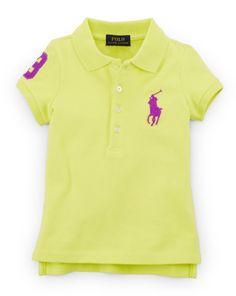 Ralph Lauren Girls Big Pony Stretch Cotton Polo TROPIC PURPLE