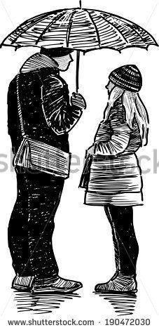 boy and girl under umbrella - stock vector