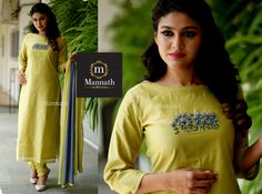Parrot Green Chandheri with Thread Work - Spring Summer 2019 - Salwars Suits - Products Embroidery On Kurtis, Kurti Embroidery Design, Flower Embroidery Designs, Zardosi Embroidery, Kurta Designs Women, Salwar Designs, Blouse Designs, Salwar Pattern, Kurti Patterns