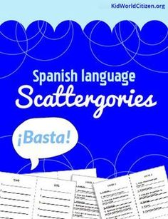"""Spanish games are a great way to practice vocabulary while having fun. My students' favorite Spanish game is """"Basta,"""" also known as """"Scattergories."""" It is the perfect game to play in Spanish class when you have 5 minutes, or more time for additional rounds. This has 8 lists with 6 categories each (48 total different categories!) that can be played with different chosen letters."""