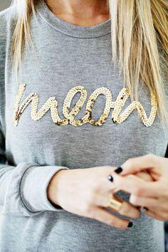 DIY Sequin Word Sweater
