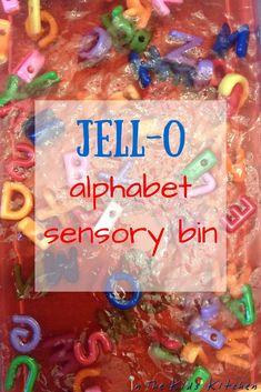 Jell-o Alphabet Sensory Bin: squishy, not sticky sensory fun with letters Sensory Tubs, Sensory Rooms, Sensory Activities, Infant Activities, Sensory Play, Learning Activities, Activities For Kids, Sensory Diet, Sensory Boards