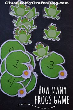For this game, simply mark the lily pad cutouts 1-10 with a Sharpie. To play, have children identify the number on the lily pad and match up how many frogs go on it.