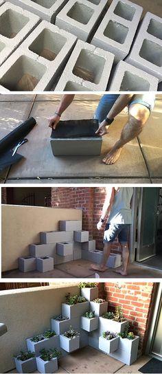 DIY Succulent Planter Using Cinder Blocks
