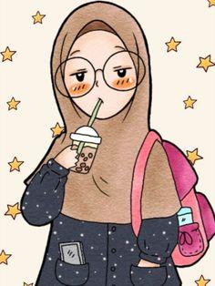 Girl Cartoon, Cartoon Art, Cute Cartoon, Muslim Pictures, Islamic Pictures, Niqab, Hijab Drawing, Islamic Cartoon, Anime Muslim