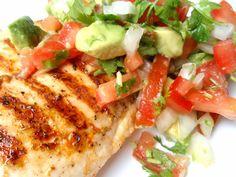 Cilantro Chicken with Avocado Salsa.  The salsa is so yummy!