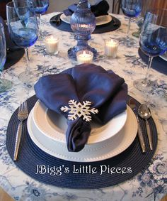 JBigg's Little Pieces: Winter Blue Mix Blue Christmas Decor, Christmas Decorations, White Christmas, Christmas Trees, Blue Candles, Votive Candles, Blue Candle Holders, Blue Placemats, White Snowflake