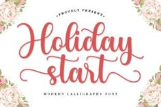 Holiday Start is a spending and sweet calligraphy typeface with characters that dance along the baseline. It will add a... Modern Script Font, Modern Fonts, Script Fonts, Characters, Calligraphy, Dance, Sweet, Holiday, Contemporary Indoor Fountains