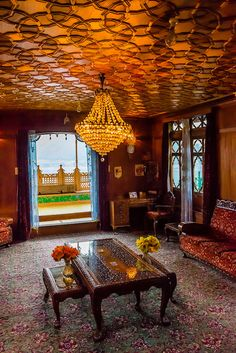 Interior view, New Golden Hind, a luxury houseboat on Dal Lake, Srinagar, Kashmir, Jammu and Kashmir State; India.