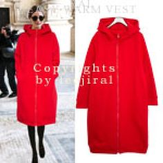 Red Long Zip-Up Jacket