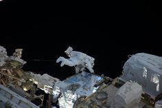 ESA astronaut Thomas Pesquet completed his first spacewalk last Friday together with NASA astronaut Shane Kimbrough to complete a battery upgrade to the outpost's power system.Thomas is seen here at the external pallet of Japan's HTV-6 supply ship retrieving battery adapters to install cl…