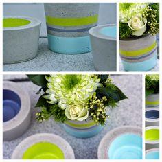 .: Frühlingsfrisch... Concrete Art, Table Decorations, Diy, Home Decor, Porta Velas, Cement, Flower Pots, Style, Projects