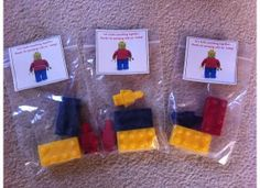 Party favors made from Lego molds and chocolate!