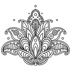 ▷ 1001 + ideas and inspirations for beautiful pictures to paint! - coloring pictures, big lotus, lotus flower with mandala motifs, small circles, tattoo template - Mandalas Drawing, Mandala Coloring Pages, Colouring Pages, Adult Coloring Pages, Coloring Books, Mandala Design, Mandala Art, Paisley Design, Mini Mandala