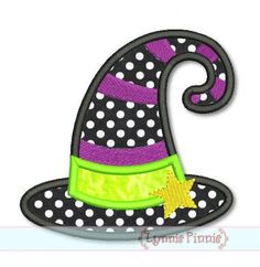 Witch Hat Applique 4x4 5x7 6x10 7x11 SVG