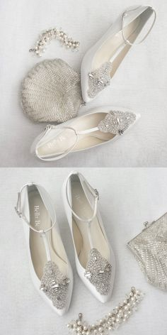 - Annalise II in white - 'Eternal' bridal collection - T-strap Art Deco wedding shoes with ankle strap - Vintage inspired - Inspired by the glamour of the Great Gatsby era - Hand beaded with baguette Art Deco Wedding, Vintage Wedding Shoes, Low Heel Wedding Shoes, Kitten Heel Wedding Shoes, Gatsby Wedding, Vintage Shoes, Vintage Style, Wedding Flats, Vintage Inspired