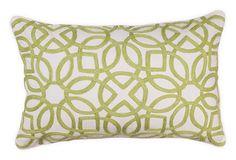 Crewel 14x22 Pillow, Green #HomeDecorators #CrewelPillow #GreenPillow