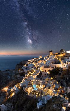 Milky way over Oia - I use Canon 80D + Tokina 11-20mm on 11mm to shoot 4 photos of f8 at iso 100 for ground and city and lights. For Milky way I had to turn 180° away form city where it actually was and it was much much darker location. I shoot with the same camera but f2.8 and iso 1600 for 25 sec exposure.  Then I combine those 5 into single one. Hope you like it!