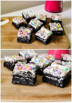 Fudgy Cookies & Cream Oreo Brownies . . . these are so easy!  Three main ingredients . . . box brownie mix, Oreo's and cream cheese frosting.  Yum