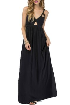 Cut-out Strapped Pleated Longline Dress