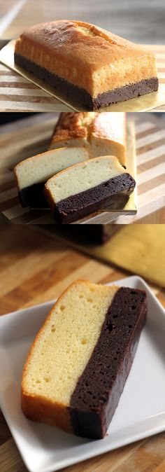 Brownie butter cake, thick brownie and rich butter cake combined into one decadent and to-die-for cake! Click for recipe | http://rasamalaysia.com (Cool Desserts Butter)