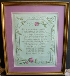 """16""""x 19"""" Cross Stitch Professionally Framed  I Corinthians 13 """"Love is Patient, Love is Kind"""" Pink Roses Gold Frame Wedding…"""