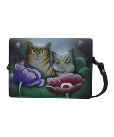 3a4377b21ae Anna by Anuschka Gray Cat Hand-Painted Leather Crossbody Bifold Wallet