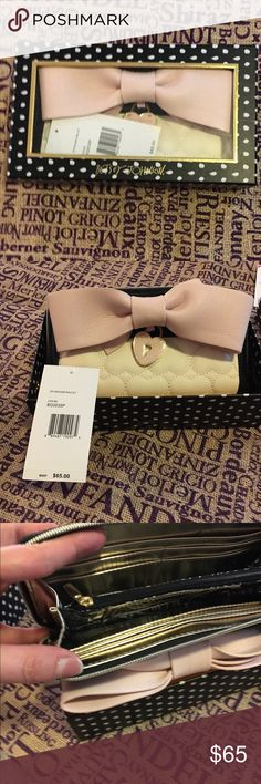 50% off sale Betsey Johnson wallet NWT and still in box Betsey Johnson white wallet with pale pink bow Betsey Johnson Bags Wallets