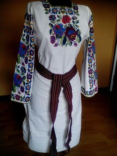 Blue, burgundy and red embroidered flowers on women's blouse - Ukraine, from Iryna