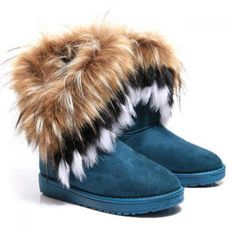 d11023b539f Fashionable Suede and Faux Fur Design Women s Snow Boots