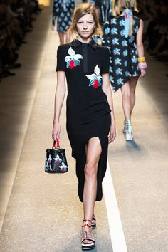 Fendi Spring 2015 RTW – Mini/Maxi Dress in Black Cady with orchid embroidery