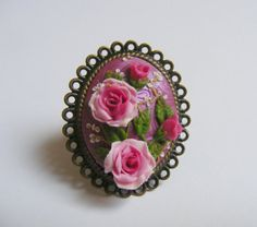 Pink+Roses+and+Buds+Adjustable+Ring++++Handmade+by+TheClayFlorist,+£22.99