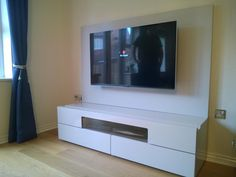Natural I419 TV stand with TV panel. finish in sand matt. The TV panel has swing arm TV bracket.