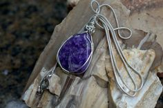 Charoite pendant purple gemstone silver wire wrapped by SAGaStone Wire Wrapped Jewelry, Wire Jewelry, Swirls, Wire Wrapping, Silver Plate, Etsy Shop, Gemstones, Sterling Silver, Chain