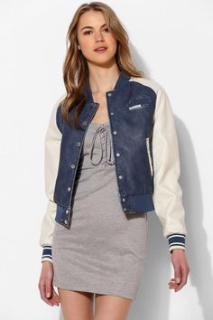 Springtime Blues in our Faux Leather Varsity #MembersOnly #Varsity shop: http://bit.ly/1DrBm1J