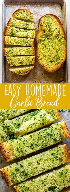 This homemade garlic bread recipe is so easy and delicious. You can make your own garlic bread at home in about 15 minutes! | How to make garlic Bread | easy side dish Garlic Bread At Home, Homemade Garlic Bread, Healthy Recipes, Top Recipes, Party Recipes, Amazing Recipes, Delicious Recipes, Dinner Recipes, Oven Baked Chicken Parmesan