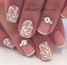 french nails with rhinestones Ring Finger French Pedicure, French Tip Nails, Short Nail Manicure, Manicure And Pedicure, Pretty Nail Designs, Diy Nail Designs, Lace Nail Design, Mandala Nails, Lace Nails