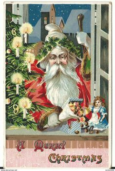 Victorian Christmas Santa wears crown of greenery, window, tree with candles, toys on windowsill