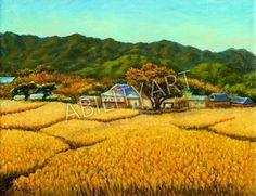 """Hwan Heo è originario della Corea del Sud. Ha creato l'opera """"Case tra campi gialli e colline"""", dipinta con l'utilizzo esclusivo della bocca. La tecnica utilizzata è quella a olio; il formato originale è 41x53 cm.  https://www.abilityart.it/case-tra-campi-gialli-e-colline.html"""