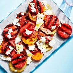 Grilling the watermelon adds a savory depth to the fruit, giving this refreshing summer salad much more flavor than you'd imagine from this simple combination. Grilled Watermelon, Watermelon And Feta, Watermelon Recipes, Grilled Fruit, Best Grilled Vegetables, Grilled Vegetable Recipes, Veggies, Barbecue Recipes, Grilling Recipes