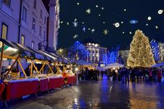 """For many years now, the Festive Fair, with its countless food and drink stalls offering mulled wine, tea, liqueurs, sausages and various grilled dishes, has been considered to be a major venue for what the locals refer to as """"the merry December in Ljubljana Old Town"""" Photo by: Dunja Wedam - VisitLjubljana.com"""