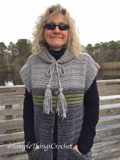 Ravelry: Town and Country Tunic Vest pattern by Tia Edwards Crochet Hood, Crochet Cardigan Pattern, Crochet Tunic, Crochet Clothes, Easy Crochet, Crochet Vests, Crochet Edgings, Crochet Dresses, Crochet Motif