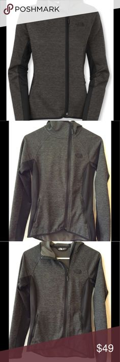 """The North Face Arcata Hoodie Women's The North Face Arcata Hoodie, in heathered charcoal and black.  Size XS, TP; 16"""" width, 22.5"""" length (3 inches longer in back).  Made of polyester and elastane.  Beautiful jacket in very good used condition.  Lightweight warmth and softness of fleece insulation, very pretty color. The North Face Tops Sweatshirts & Hoodies"""