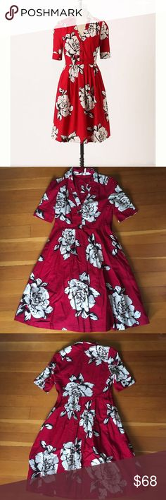 cb0dfa6a80500 Anthropologie Maeve Dagmar dress, size 4 Gorgeous Shirtdress in cherry red  with floral pattern.