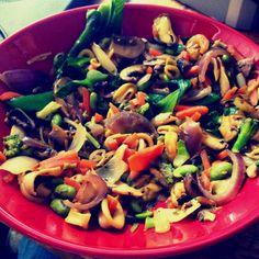 Mixed seafood and mushrooms stir fry