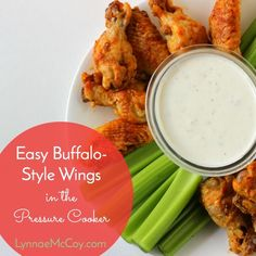 These yummy buffalo-style wings are first easily cooked in a pressure cooker. They're finished off under the broiler for a tasty game day appetizer!