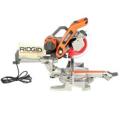 RIDGID model MS255SR, 10 in. Sliding Compound Miter Saw with Dual Laser Guide, The Home Depot - Best value I've found.