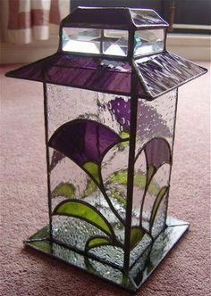 purple and clear stained glass lantern with flowers Stained Glass Suncatchers, Stained Glass Lamps, Stained Glass Designs, Stained Glass Panels, Stained Glass Projects, Stained Glass Patterns, Leaded Glass, Mosaic Glass, Fused Glass