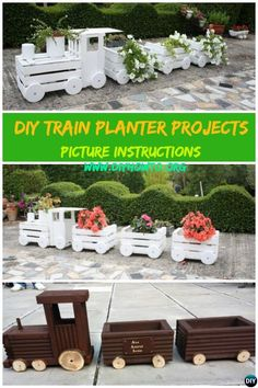 DIY Train Planters with Wood Crate, Hollowed Wood Log, Wine Barrel and Whatever You can Use to Chain them into A Train Planters. via @diyhowto